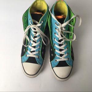 CONVERSE neon double layer hi top sneakers